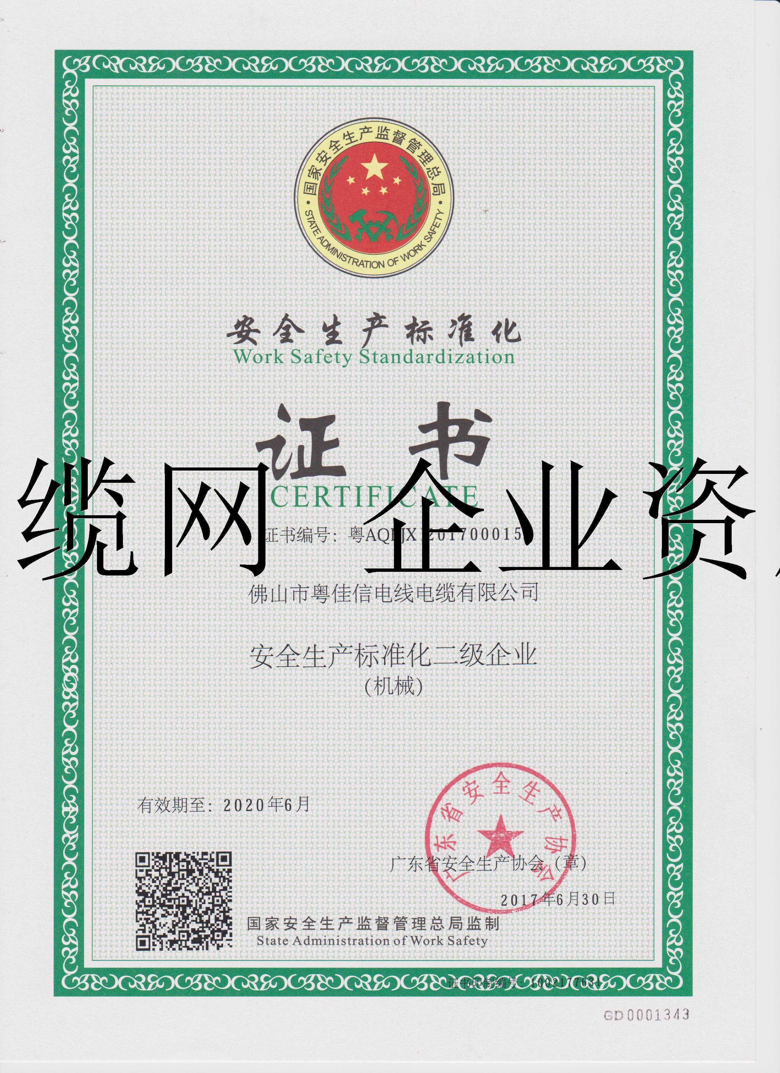 安全生产标准化二级企业证书